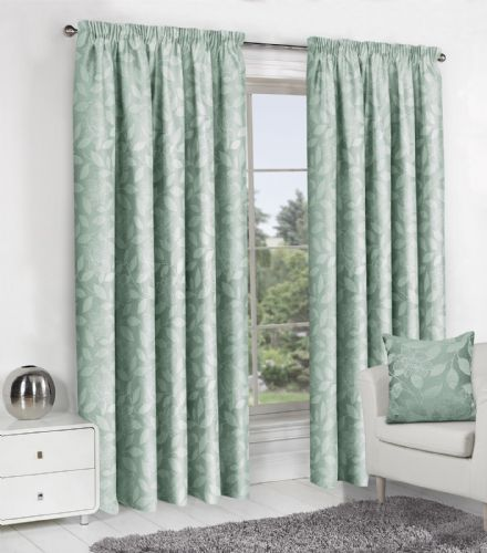 DUCK EGG JACQUARD DESIGN LINED PENCIL PLEAT STYLISH FLORAL LEAF LUXURY MODERN CURTAINS